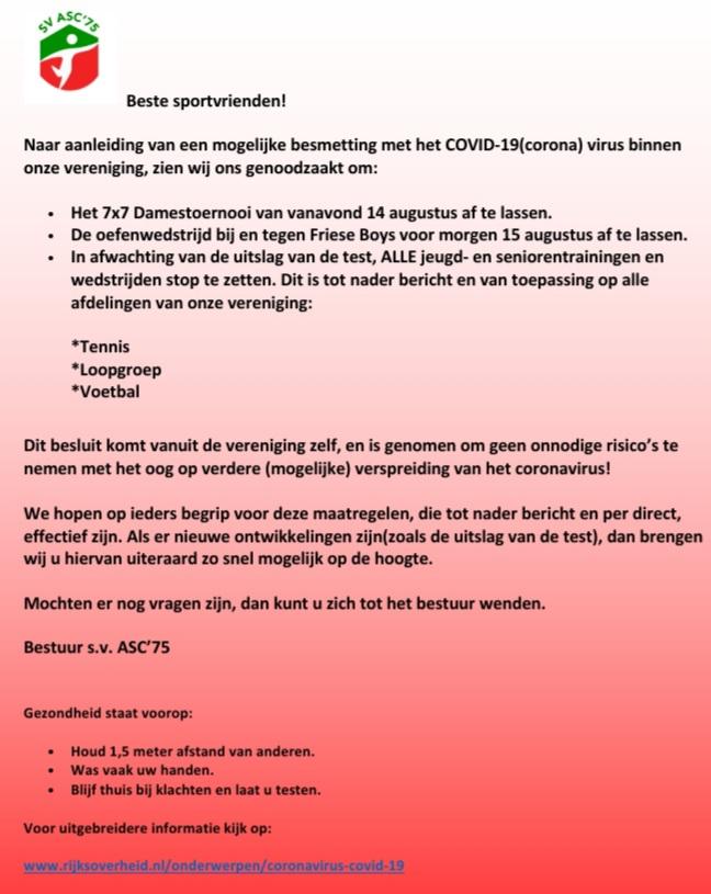 Belangrijke mededeling i.v.m. coronavirus